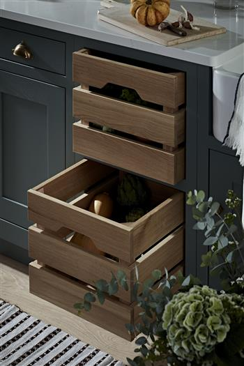 Made to measure solid oak vegetable drawers