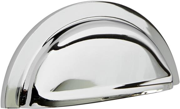 Contemporary polished chrome cup handle